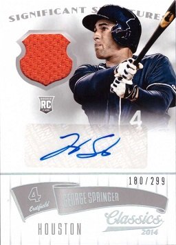 2014 Panini Classics Relics #80 George Springer Certified Autograph Game Worn Jersey Baseball Rookie Card - Only 299 made!