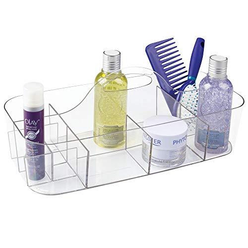 mDesign Kosmetikkorb mit Griff – Aufbewahrungskorb für Shampoo, Duschgel, Conditioner & Co. – Badablage aus robustem Kunststoff mit 11 Fächern – durchsichtig