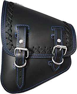 La Rosa Design All Harley-Davidson Softail/Rigid Frames Left Side Leather Saddle Bag-Black Leather with Crossed Lace Blue Thread