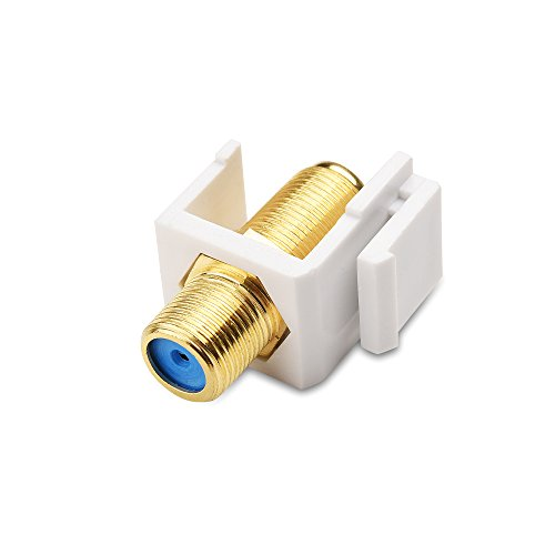 Cable Matters 5 Pack RG6 Keystone Jack Insert, Coaxial Keystone Jack Insert Gender Changer