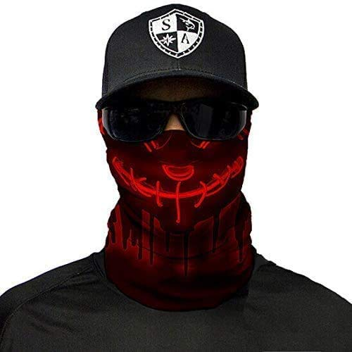 NA Face Shield Micro Fiber Protect from Wind, Dirt and Bugs. Worn a Balaclava, Neck Gaiter & Head Band for Hunting, Fishing, Boating, Cycling, Paintball and Salt Lovers. - Neon Purge Red