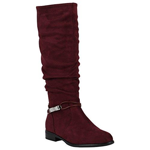 Gefütterte Damen Stiefel Klassische Langschaft Boots Schuhe 149807 Dunkelrot Zierperlen 40 Flandell