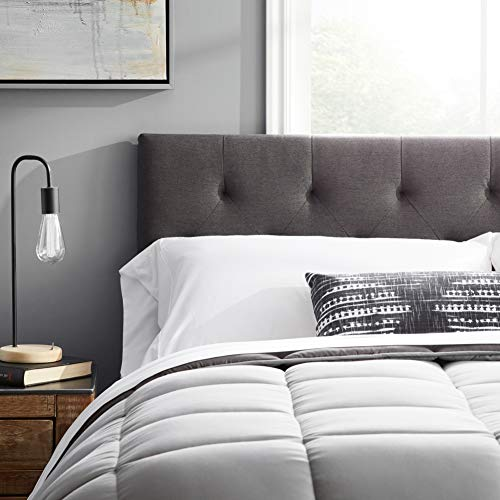 """LUCID Mid-Rise Upholstered Headboard - Adjustable Height from 34"""" to 46"""", Queen, Charcoal"""