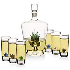 IMPRESS YOUR BAR SET WITH AGAVE STYLE WITH THIS LARGE WHISKEY AGAVE DECANTER: This TEQUILA decanter is Great as a starter of finishing touch for any bar. This is a hand crafted carefully constructed TEQUILA decanter with AGAVE glasses, will make anyo...