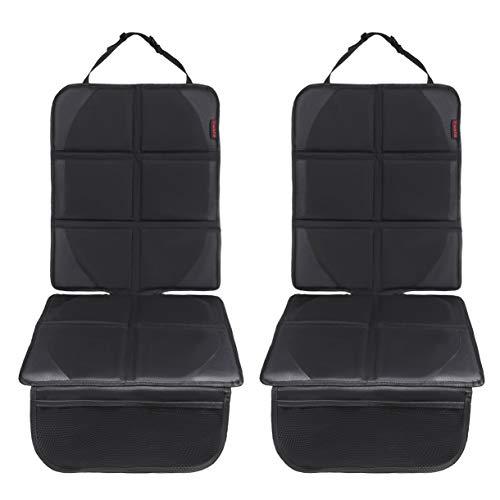 8safe Protector Asiento de Coche | Turismos y SUVs | Tela de Oxford 600D | Compatible con ISOFIX | Ligero y Duradero | Amplios Bolsillos (All Black Pack2)