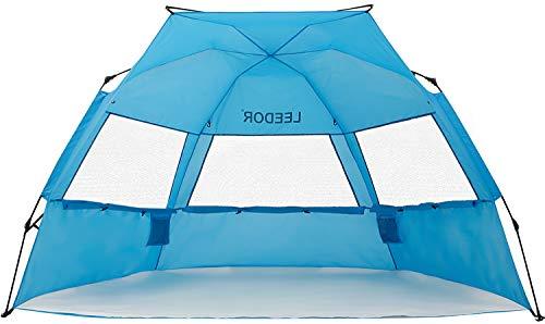 Leedor Strandzelt, Sonnenschutz, sofortiger Strandschirm mit UV-Schutzfaktor 50+, tragbar, winddicht, Pop-Up-Schatten, für 3 bis 4 Personen, zum Patent angemeldet