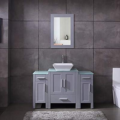 "48"" Bathroom Vanity Glass Top Single Sink Grey Paint w/Mirror Faucet and Drain Set"
