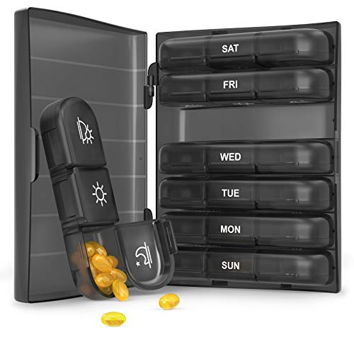 Weekly Pill Organizer 3 Times A Day, PULIV Portable Travel Pill Box 7 Day with Large Compartments, Portable Travel Pill Case for Vitamins, Medicine, Fish Oils, Supplements (Black)