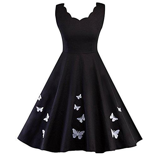 iShine Audrey Hepburn Kleid Damen V-Ausschnitt Rockabilly Kleid mit Schmetterling Faltenrock elegant...