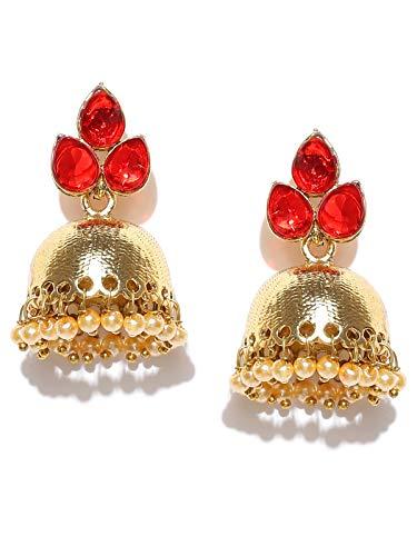 Zaveri Pearls Jhumki Earrings for Women (Red)(ZPFK6426)