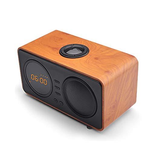 Bluetooth luidspreker, houten wekker FM-radio TF-kaart draadloze subwoofer HD audio en geluid bot 8 uur spelen