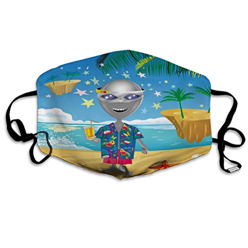 Best Review Of DISGOWONG Breathable Mouth Covers for Adults Child Image Cheerful Alien Virtual Reali...