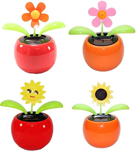 4 Eco-Friendly Solar Dancing Flowers in Colorful Pots. Decoration Gift. No Battery Required (1 Orange Daisy, 1 Pink Daisy, 1 Red Flower, 1 Yellow Sunflower) (Daisy)