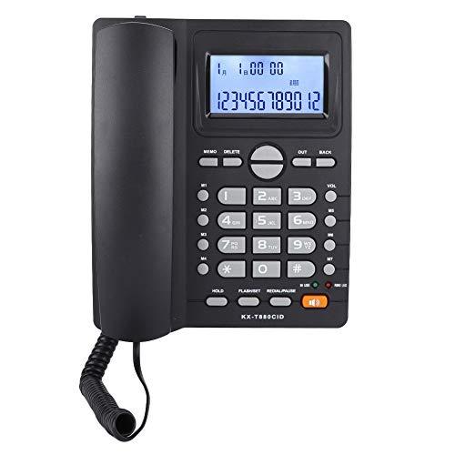 Denkerm Teléfono Fijo con Cable, Pantalla LCD Función de calculadora Teléfonos con Cable de Sonido nítido, con identificador de Llamadas con Altavoz Uso en el hogar Uso en la Oficina(Black)