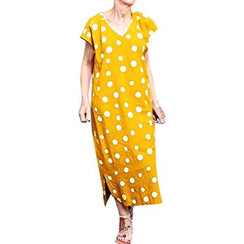 Damen Boho Lange Kleider V-Ausschnitt Sommerkleider Kurzarm Wickelkleid Maxikleid Strandkleid mit Schlitz