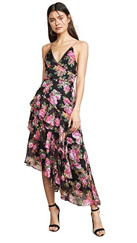 Keepsake Women's Oblivion Midi Dress, Black/Rose Floral, X-Small
