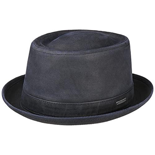 Stetson Cappello Tarco Pork Pie Anti UV Uomo - in Cotone con Fodera, Fodera Primavera/Estate - XL (60-61 cm) Blu Scuro