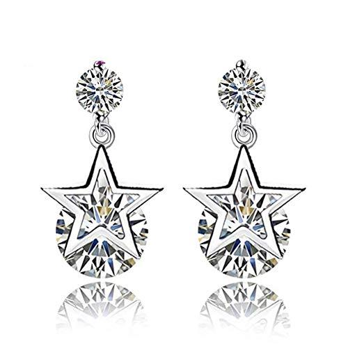 Cestbon 925 Sterling Silber Weißer Zirkonia Runder Kristall,Sternanhänger,Kurze,Elegante Damenohrringe,Geeignet Für Partykleidung,Silber
