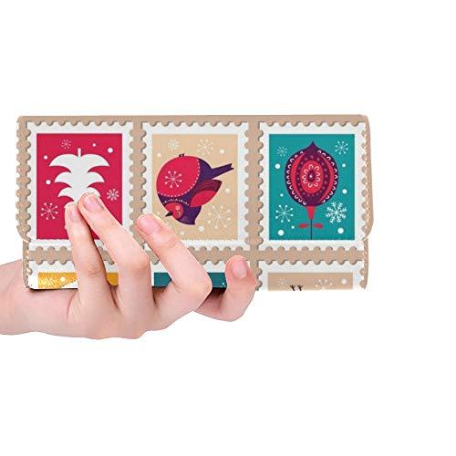 Einzigartige Benutzerdefinierte Weihnachten Schöne Fröhliche Nette Stempel Urlaub Frauen Trifold Brieftasche Lange Geldbörse Kreditkarteninhaber Fall Handtasche