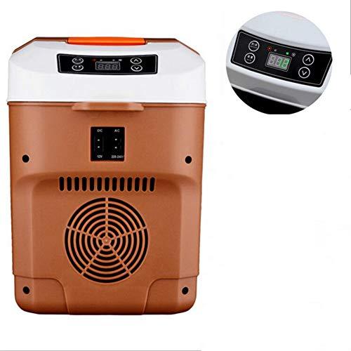 YLEI Mini-Kühlschrank, tragbare Thermo-elektrische Kühlbox/Heizbox, ABS-Gehäuse, Wenig Lärm, 12/24 V und 220 V für Auto, LKW, Steckdose, 10 Liter,Braun