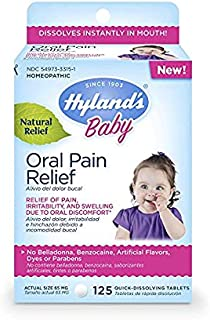Hyland's Baby Oral Pain Relief Tablets, Soothing Natural Relief of Oral Discomfort, Irritability, and Swelling, 125 Count (4-Pack)