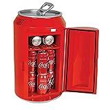 Coca-Cola Portable 12 Can Thermoelectric Mini Fridge Cooler, 10 L/10.6 Quarts Capacity, 12V DC/110V AC for home, den, dorm, cottage, cabin, beer, beverages, snacks, skincare, cosmetics, medication