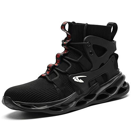 [マンディー] 安全靴 ハイカット あんぜん靴 作業靴 レディース メンズ 安全 ブーツ スニーカー おしゃれ 鋼先芯入れ 軽量 耐滑 安全長靴 通気性 黒 セーフティーシューズ 799/ブラック/38