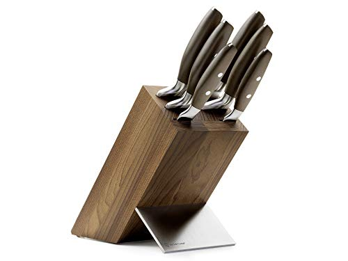 WÜSTHOF Messerblock, Epicure 1090670601, Messeraufbewahrung mit 6 Kochmessern, Küchenmesser Set, Buche, rostfreier Stahl, sehr scharfe Messer