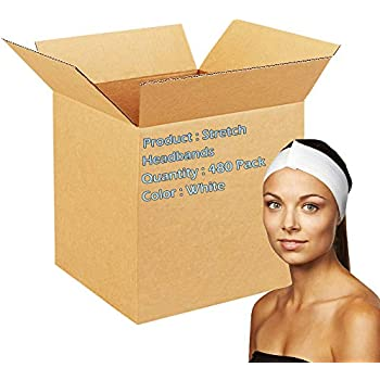 Dukal Stretch Headbands. Case of 480 disposable headbands for spa treatments. Hook and loop closure. Soft flexible material. Latex-free. White color.