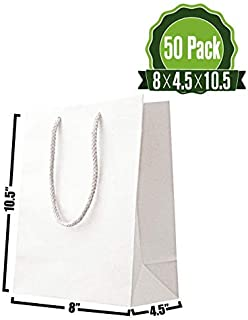 8 X 4.5 X 10.5 White Kraft Paper Gift Bags Bulk with Handles. Ideal for Shopping, Packaging, Retail, Party, Craft, Gifts, Wedding, Recycled, Business, Goody and Merchandise Bag (50 Pack)