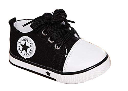 18-24 Meses - Zapatillas de Gimnasia - Lona - Niños - Cuerdas (Negro) - Talla 22 EU - Idea de Regalo de cumpleaños - Navidad - Fiesta