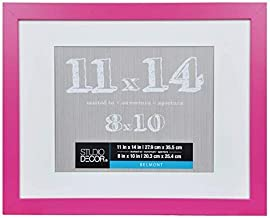 11 x 14 Bright Pink Picture Frame Colored Photo Frames - Displays 8x10 with Mat or 11x14 W/O Mat - Wall Mounting Material Included …Children's Art Frame (Pink)