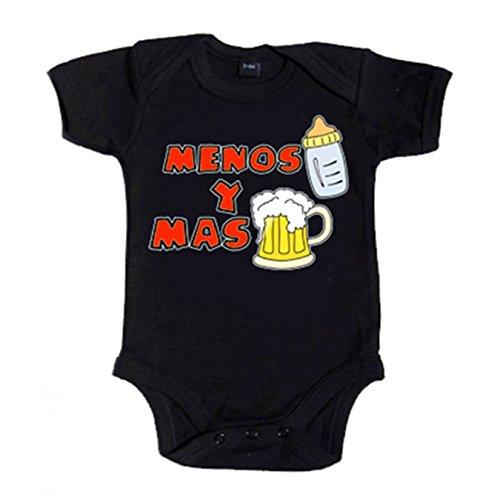 Body bebé Menos biberón y más cerveza - Negro, 6-12 meses