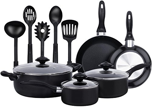 13 Pieces Kitchen Cookware Set - Black, Highly Durable, Even Heat Distribution, Double Nonstick...