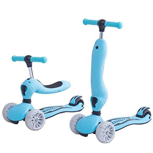 AJAMQ 3-En-1 Kick Scooter con Asiento Extraíble, 3 LED Ruedas para Niños, 4 Altura Ajustable Y Diseño Plegable Patinetes para Niños Pequeños Sit O Stand Ride para Niños Y Niñas De 2 A 10 Años,Azul