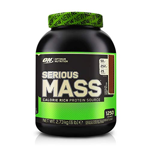 Optimum Nutrition ON Serious Mass Hochkalorisches Weight Gainer Protein Pulver, Whey Protein, Vitamine, Kreatin und Glutamin, Chocolate Peanut Butter, 8 Portionen, 2,73kg, Verpackung kann Variieren