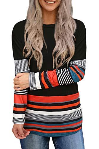 Sudaderas a rayas para mujer, estilo vintage, túnica de manga larga, casual, cuello redondo, blusa de color