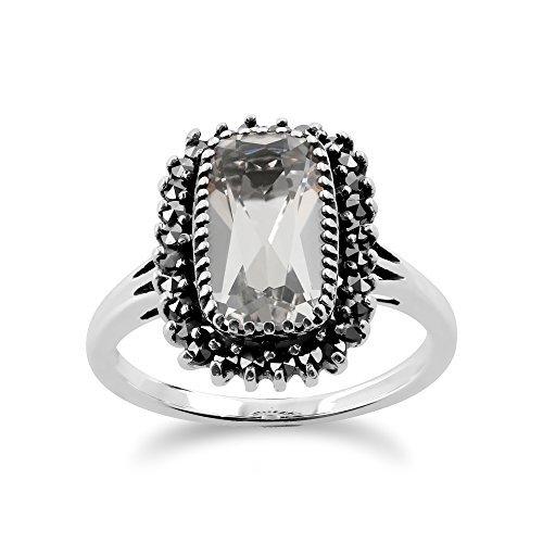 Anello in argento Sterling 925 con cristallo di rocca 2,00 ct e marcasite e Argento, 57 (18.1), cod. 214R456701925__P