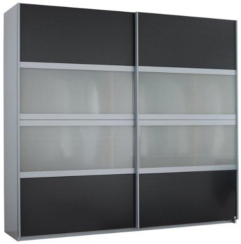Rauch V8662.A003 Schwebetürenschrank Quadra / 2-türig / mit Milchglaseinlage / B 271 H 210 T 62 cm / Korpus: Alu gebürstet, Front: grau-metallic, Abs. Milchglas