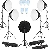 Eloies® 50W Octagon Softbox 60cm Continues Lighting Kit for Studio Setup, Photo Video