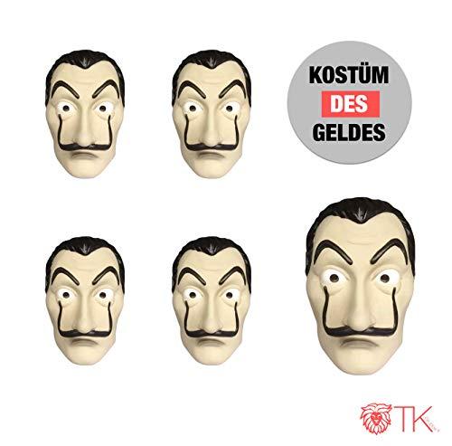 TK Gruppe Timo Klingler 10x Maske Kostüm Haus des Geldes Verkleidung casa del Papel Bella Ciao Haus für Herren, Damen Erwachsene mit Maske - Fasching, Karneval, Halloween (10x Maske)