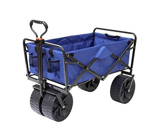 Mac Sports Heavy Duty Steel Frame Collapsible Folding 150 Pound Capacity Outdoor Beach Garden Utility Wagon Cart with 4 All Terrain Wheels, Blue/Black