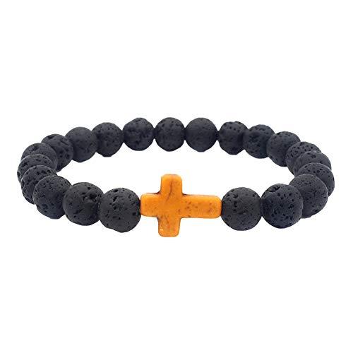 Bracelet lumineux tendance et religieux en pierre volcanique naturelle avec perles et croix - Pour homme et femme