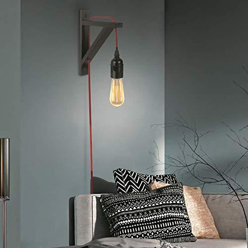 CMP Paris Applique Murale - Bois Noir et Cable Rouge - Luminaire Suspendu