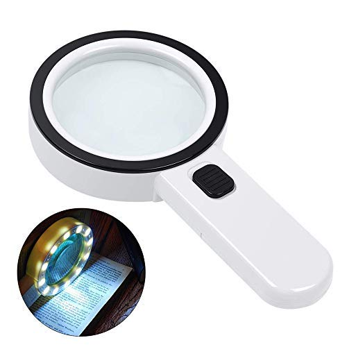 Lupe mit Licht Leselupe, Huttoly Lupe mit 12 Led Licht 30X Handlupe Beleuchtet zum Lesen,105mm groß Verzerrungsfreier Leselupe mit Doppelglaslinse für Kleingedruckten,Karten,Münzen & Schmuck-Weiß