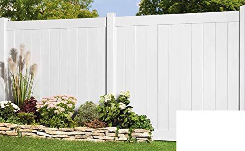 Longlife Sichtschutz Zaun Kunststoff weiß 170x170cm aus extrem witterungsbeständigem Fensterkunststoff (kein WPC) (1 Zaun + 2 Pfosten = 190cm Zaunlänge)