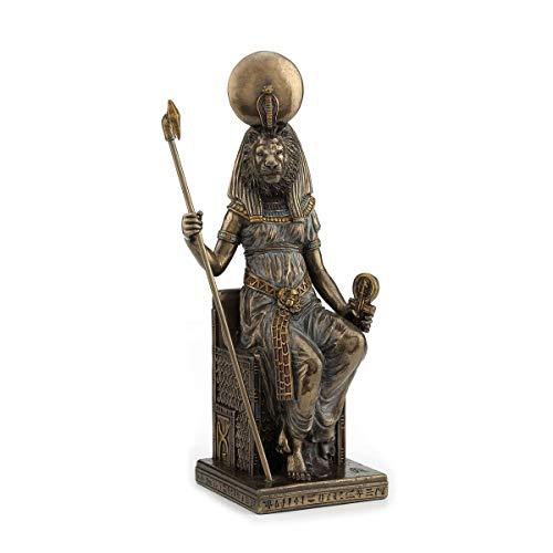 Figura Egipcia Decorativa de Resina Diosa Sekhmet. Adornos y Esculturas. Decoración Hogar. Regalos Originales. 20 x 8 x 7 cm.
