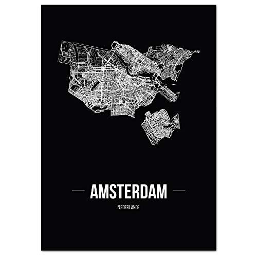 JUNIWORDS Stadtposter, Amsterdam, Wähle eine Größe, 21 x 30 cm, Poster, Schrift B, Schwarz
