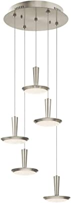 "Elan Lighting 83692 Karah - 17.74"" 5 LED Spiral Pendant, Brushed Nickel Finish with Clear Cubic Zirconia Chip Glass"