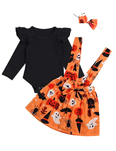 Halloween Toddle Infant Baby Girl Clothes Ruffle Romper Top Suspender Pumpkin Bat Ghost Skirt Outfit Set with Headband (Black, 0-3 Months)